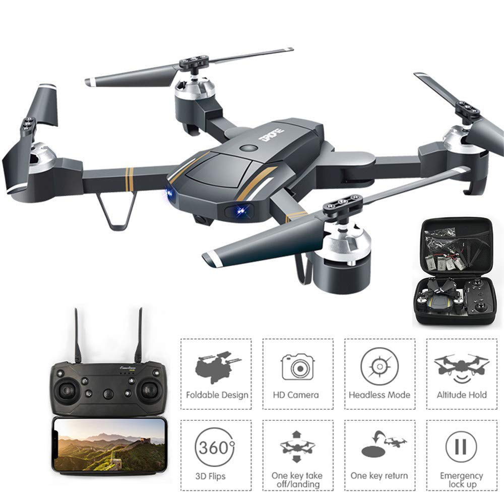 FPV Foldable RC Drone mit Camera Live Video und GPS Return Home Quadcopter mit Adjustable Wide-Angle 720P HD WiFi Camera 360 Degree Rolling, One Key to Return und LED-Licht