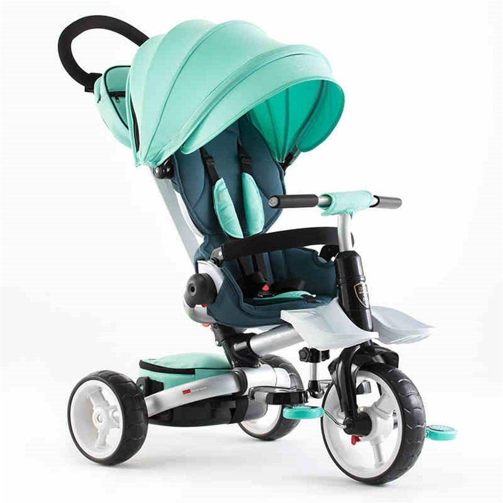 KANGR-子ども用自転車 子供用三輪車カートベビーキャリッジ子供用自転車3輪、折り畳み式 ( 色 : 緑 ) B07BTY9FVT緑
