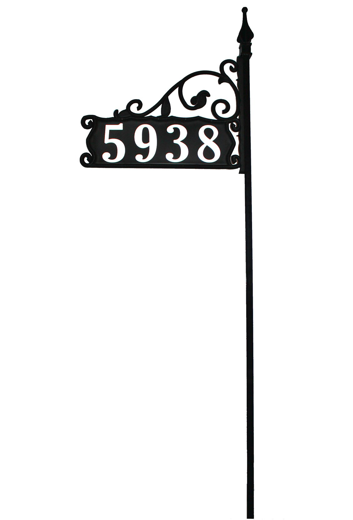 Large Reflective Address Yard Sign- Jumbo 6'' Numbers - 80'' Post for Large Yards and Snow Areas - Boardwalk Design