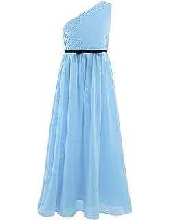 288550a50df41 iiniim Robe de Princesse Cérémonie Banquet Fête Enfant Filles Replis  Mousseline de Soie Une Epaule Robe