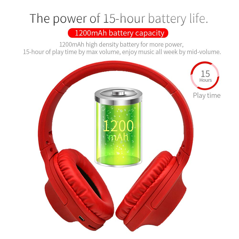 c127cfae4f9 Amazon.com: DiPRO Acoustics BH-A26 Stereo Wireless Bluetooth Headphones 6  EQ Mode,UP to 15Hours Play Time with TF,Mic,Aux in (Red): Home Audio &  Theater