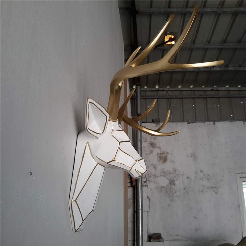 SDBRKYH Sculpture De T/ête De Cerf Bois Antler Tenture Troph/ée D/écoration Murale R/ésine Simple Dessin Or C/ôt/é Tenture Tenture