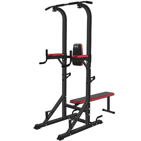 ISE Multiestación maquina de musculación, Estante de cuclillas multifuncional con banco plegable y soportes con