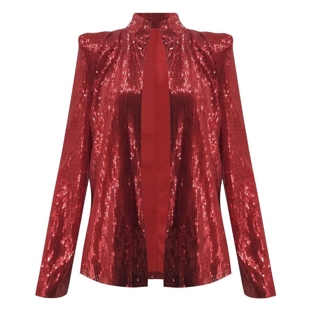 Respctful✿Women Sequins Coat Bomber Jacket Long Sleeve Zipper Streetwear Casual Loose Glitter Outerwear Red by Respctful Women's Clothing