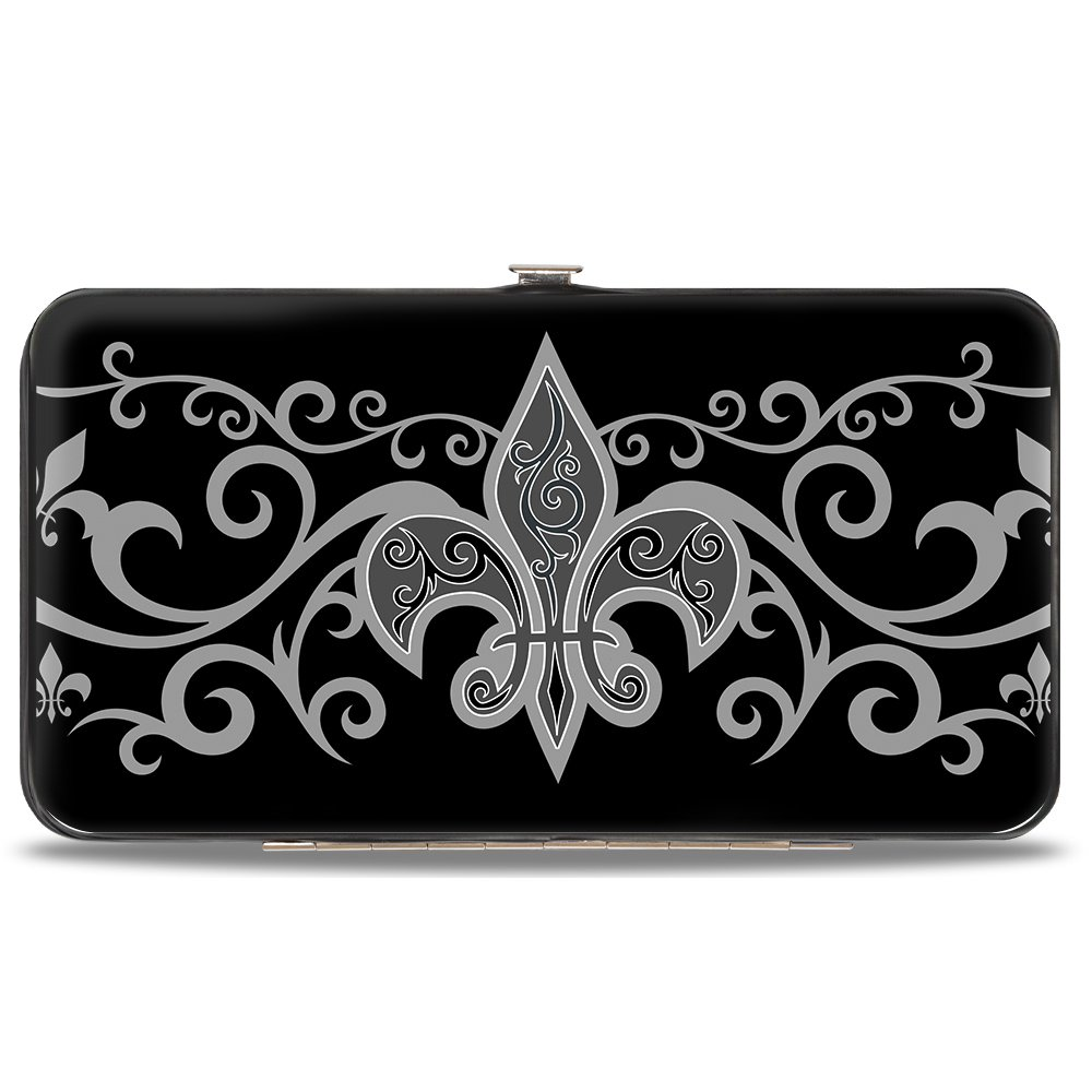 Buckle-Down Hinge Wallet Fleur-de-Lis w//Filigree Black//Gray