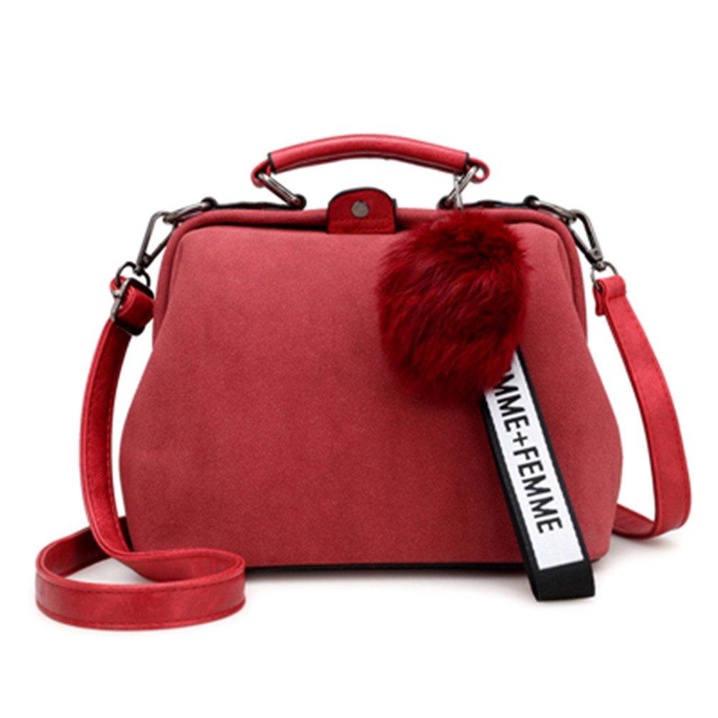 Chic-Dona Shell Bag Women Leather Handbags Fashion Hairball Women Messenger Bags Shoulder Bags Ladies Tote Bag Red 23x12x20cm
