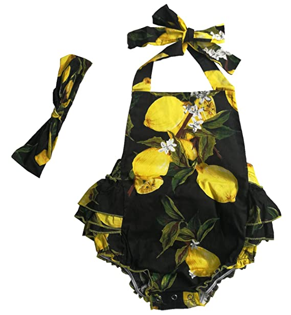 c4a2a61f7d164 DQdq Baby Girls' Floral Print Ruffles Romper Summer Dress (6 Month, Black  Lemon