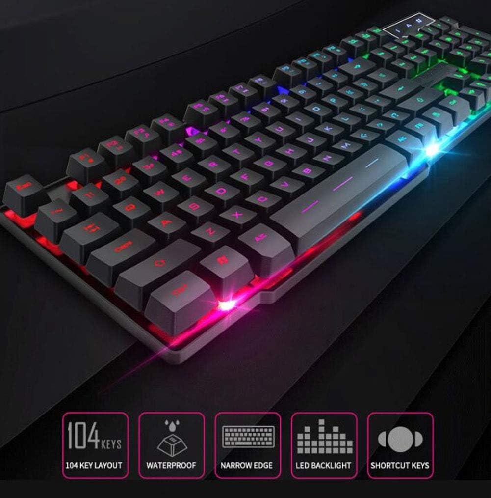 WANGJIANGLI Illuminated Gaming Keyboard LED Backlit Mechanical Keyboard Waterproof,USB Wired Pad for Pro PC Gamer Or Office