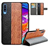 LFDZ Compatible with Samsung A70 Case, PU Leather Galaxy A70 Wallet Case with [RFID Blocking], 2 in 1 Magnetic Detachable Flip Slim Cover Case for Samsung Galaxy A70 A705F 2019,Black/Brown