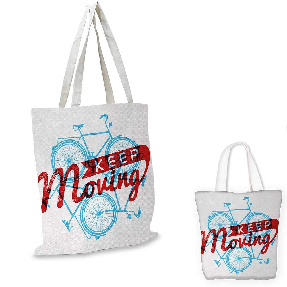 Retro canvas messenger bag Keep It Moving Motivational Phrase Hipster Lifestyle Bicycle Grunge Display canvas beach bag Sky Blue Red Coconut 14x16-11