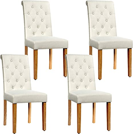 Amazon Com Safstar Accent Dining Chairs Tufted Parsons Chairs With Solid Rubber Wood Legs Adjustable Feet High Back Upholstered Side Chairs For Kitchen Living Room Restaurant 4 Beige Chairs