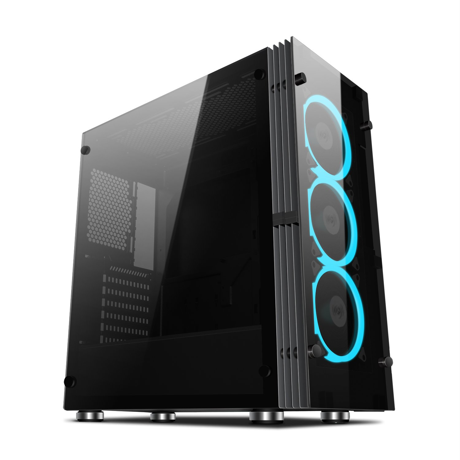 Aigo Atlantis ATX Mid-Tower Desktop  Computer Gaming Case Tempered Glass Windows With 3pcs 120mm LED Ring Fans Ice Blue Ring Fans Pre-installed