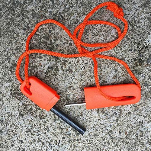 Wilde Überlebensnot Feuerstein Stick Outdoor Magnesium Strip Feuerwaffe Mit Gezackten Schaber U Disk Flint – Orange