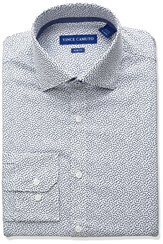 VINCE CAMUTO Men's Slim Fit Stretch Confetti Print Dress Shirt with Collar, Blue, 17.5