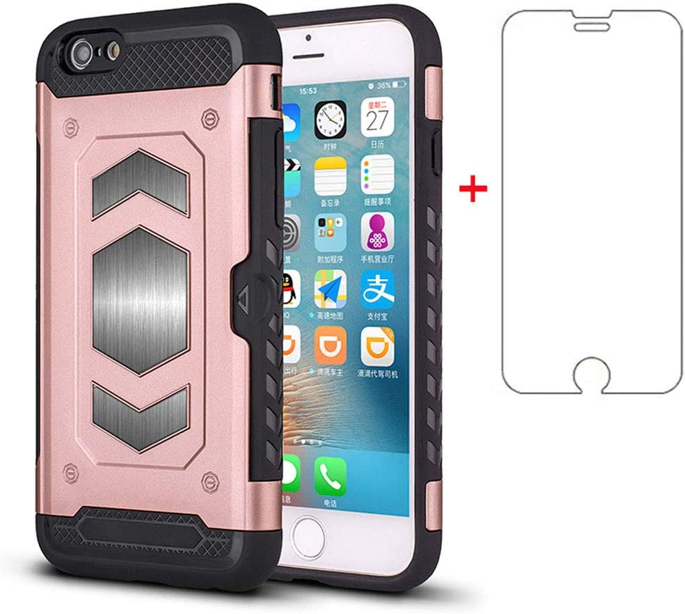 Phone Case for Apple iPhone 6 6s with Tempered Glass Screen Protector Cover Cell Accessories Credit Card Holder Wallet iPhone6 Six i6 S iPhone6s iPhine6s iPhones6s i Phone6s Phone6 6a Girls Women Pink