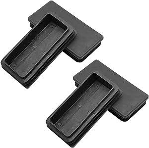 Suiwotin 4PCS 2 x 4 Inch (50x100mm) Rectangle Black Plastic Plug End Cap Plastic Rectangle Furniture Foot Table Chair Legs Tube Inserts Pipe Tubing End Cap