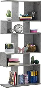 Giantex Freestanding Ladder Bookcase, 5 Cubes Corner Storage Bookshelf, 5-Layer Shelves Closet Organizer Rack Display Cabinet (Gray)