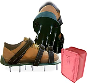 FSTSLK Newly Upgraded Lawn Aerator Shoes and Shoe Storage Bag, for Effectively Aerating Lawn Soil - 3 Adjustable Straps and Heavy Duty Metal Buckles - Easy Use for Courtyard and Garden Healthier.