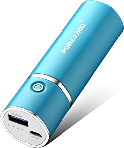 [Upgraded] POWERADD Slim 2 Most Compact 5000mAh External Battery 2.1A Output Portable Charger with Smart Charge for iPhones iPad Samsung Galaxy HTC and More - Blue