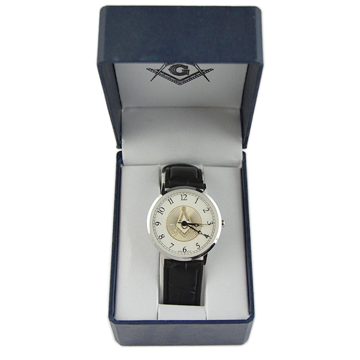Masonic Freemason Square Compasses Leather Band Wrist Watch
