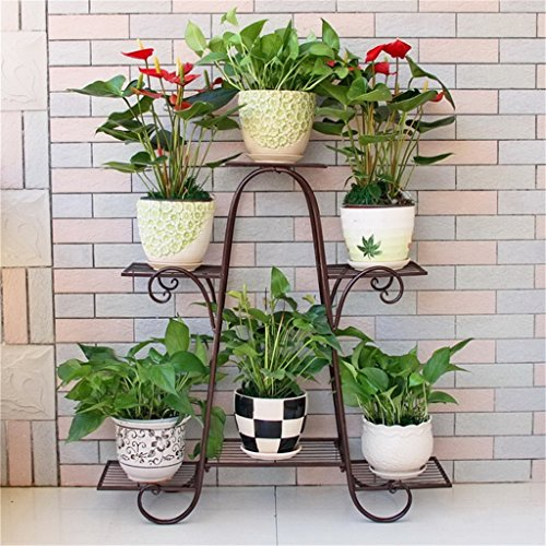 FFF-shelf Wrought Iron Flower Stand Multilayer Floor-standing Balcony Planter Green Living Room Hanging Orchid Shelf Simple Flowers (Color : B) from FFF-shelf