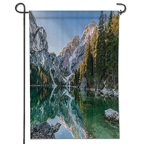 """Philiphome Garden Flag Autumn Landscape with Fabricded Trees and Mountains Pure Reflection in Water Dream House Flag Decoration Double Sided Flag -12"""" x 18"""""""