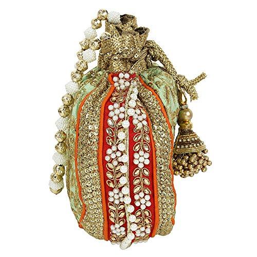 main indienne pochette à Sac Collection brodée Cyan Sac la fête pour à Couleur Sac ethnique à Potli mariage femme main pour main traditionnel FZWxvxpn