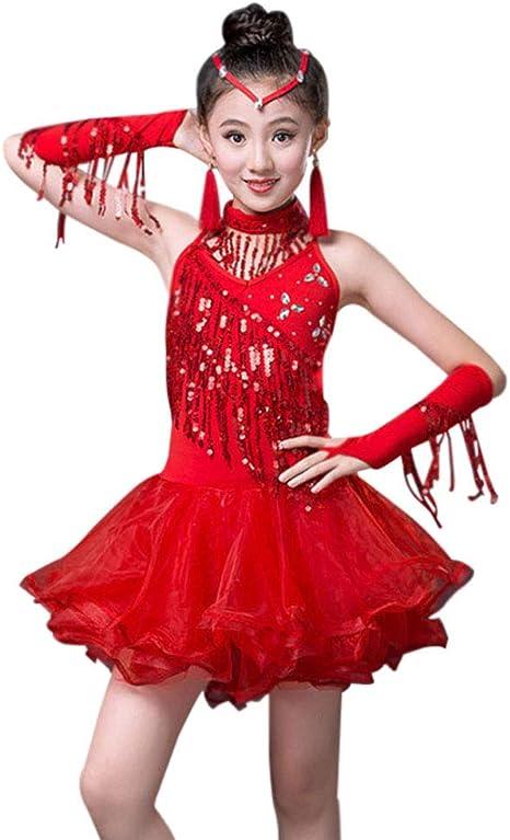 Huatime Latina Baile Vestido Chicas - Niños Lentejuelas Franja ...