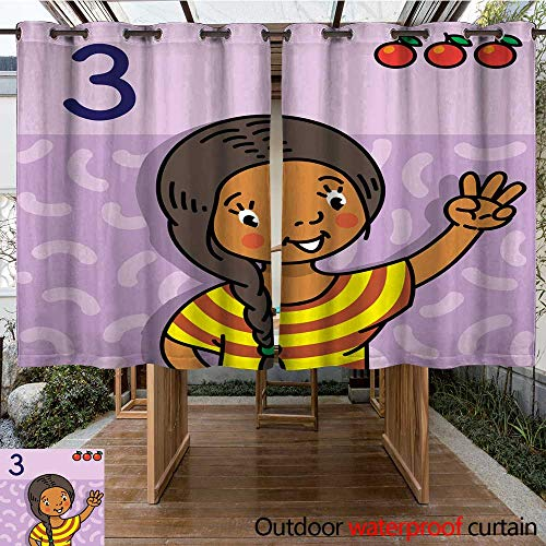 RenteriaDecor Home Patio Outdoor Curtain Girl Showing Three by Hand Counting Education Card W63 x -