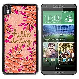 TopCaseStore / la caja del caucho duro de la cubierta de protección de la piel - Gold Pink Peach Purple Text - HTC DESIRE 816