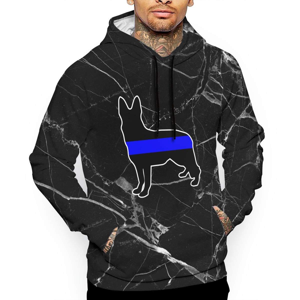 Ou50IL@WY Men German Shepherd Thin Blue Line Pullover Hoodie Winter Cotton Fleece Hoodie with Pocket for Men
