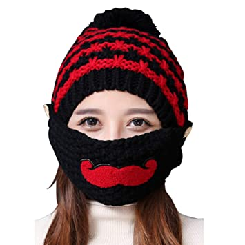 Verlike Lovely Beard Winter Warm Knitted Beanie Hat Scarf with Mouth Mask  Set for Women 53114c16b72