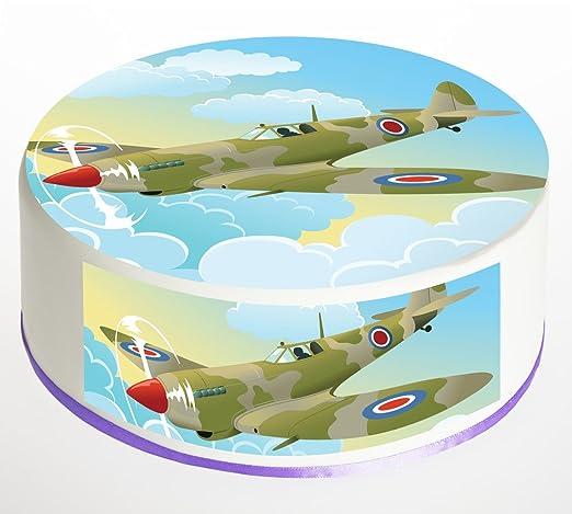 Spitfire Flugzeug Kuchen Topper Runder Tortenaufsatz Essbare