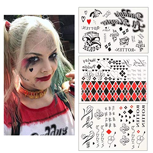 3 Sheets Harley Quinn Temporary Tattoos from Suicide Squad,HQ Tattoo Sticker Perfect for Halloween,Cosplay, Costumes and Party Accessories