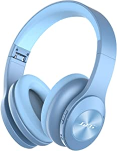 Active Noise Cancelling Headphones GEG Wireless Headphones Over Ear Headphones with Mic, A2NC techology,Foldable Headband,CD Sound Quality,20 Hours Playtime for Cell Phones iPod (Blue)