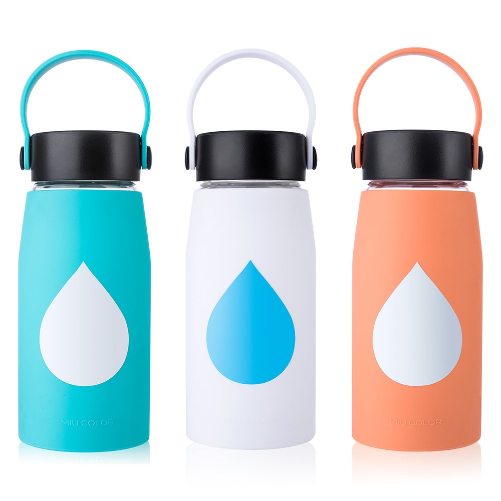 18oz MIUCOLOR Glass Water Bottle - Silicone Sleeve Shatter Resistant Large Borosilicate Glass Bottles for Home Sports and Outdoor - Apricot