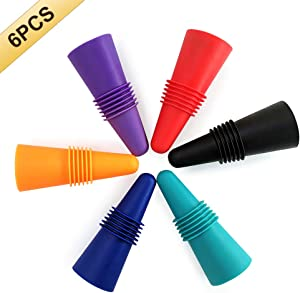 6PCS Wine Stoppers, AK1980 Silicone Reusable Sparkling Wine Bottle Stopper and Beverage Bottle Stopper with Grip Top for Keep the Wine Fresh