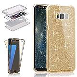 Galaxy S8 Glitter Case,Galaxy S8 Bing TPU Cover,Leecase Ultra Thin Transparent Clear Gold Design Slim Fit Full Body 360 Degree Gel Bumper for Samsung Galaxy S8