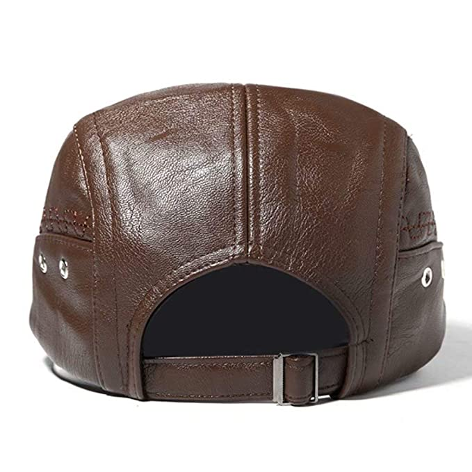 Lifreer Mens Man-Made Leather Solid Beret Hat Casual Autumn Warm Golf  Forward Caps Adjustable Dark Coffee  Amazon.co.uk  Clothing 186f6f87fdb7