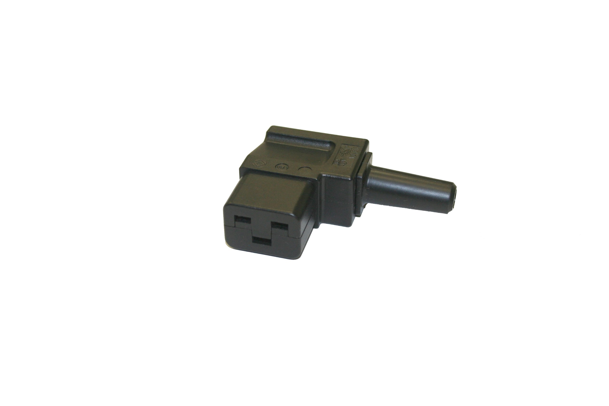 Interpower 83011310 IEC 60320 C19 Angled Rewireable Connector, IEC 60320 C19 Socket Type, Black, 16A/21A Rating, 250VAC Rating