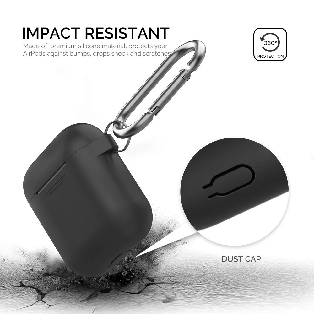 Front LED Visible AhaStyle Upgrade AirPods Case Protective Cover Silicone Compatible with Apple AirPods 2 and 1(Black)
