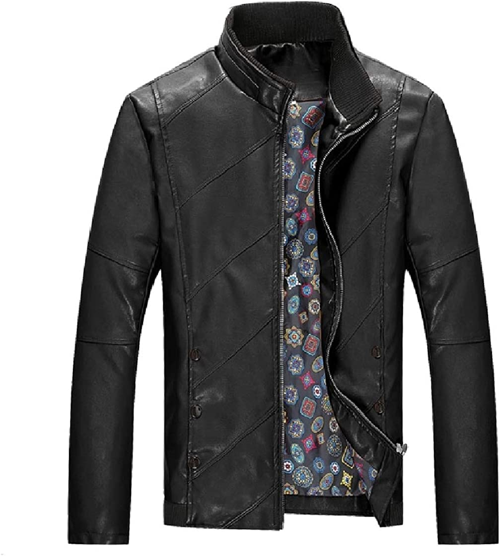 CrazyDay Mens Solid Long Sleeves Stand-up Collar Zip Faux Leather Coat