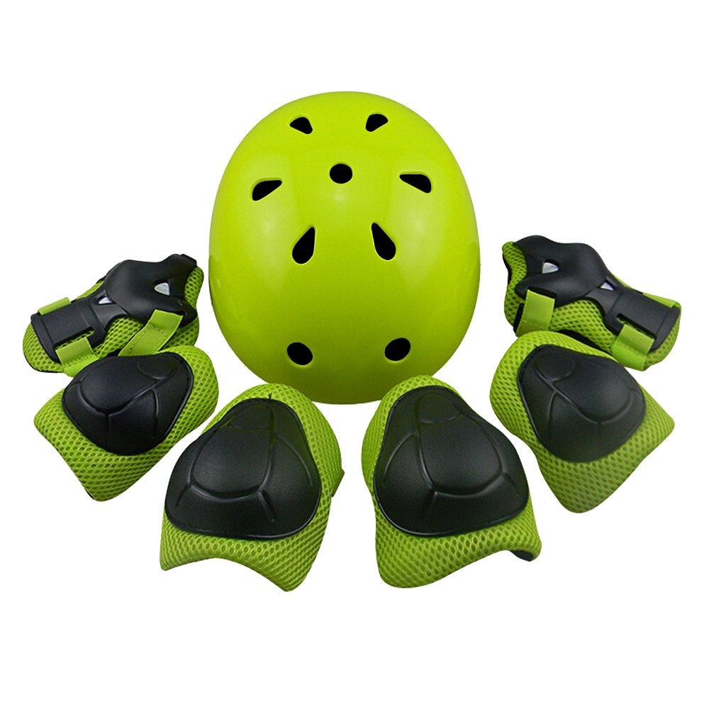 Kid's Protective Gear Set,Child Helmet Knee Pads Elbow Pads Wrist Guards for Skateboard/Skate/Roller/Skateboard (Green)