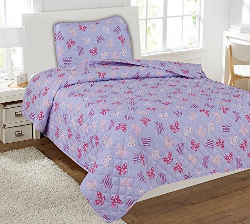 キッズ寝具キルトセット ツインサイズ ベッドカバー ベッドスプレッド 男の子 女の子 プリントカバー/ピンク&ライラックバタフライ B07J5BD1FX