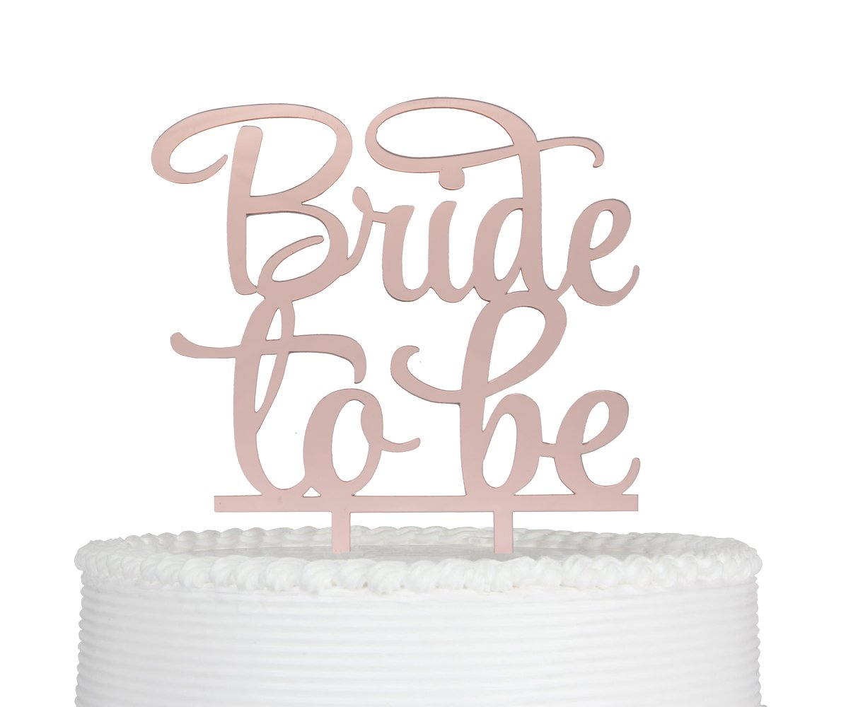 Qttier Bride to Be Cake Topper, Bridal Shower Mirror, Engagement Party Decoration Rose Gold