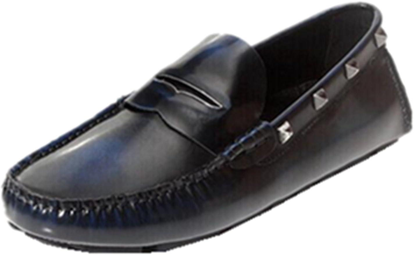 HAPPYSHOP TM Mens Genuine Leather Polishing Color Slip-on Driving Shoe Loafer Flats