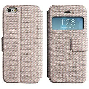 Be-Star Colorful Printed Design Slim PU Leather View Window Stand Flip Cover Case For Apple iPhone 5 / 5S ( Pixelated Dots ) Kimberly Kurzendoerfer