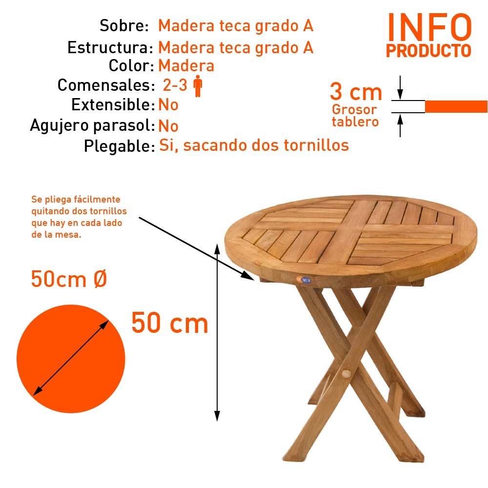 Mesita teca auxiliar para terraza plegable - Portes Gratis: Amazon ...