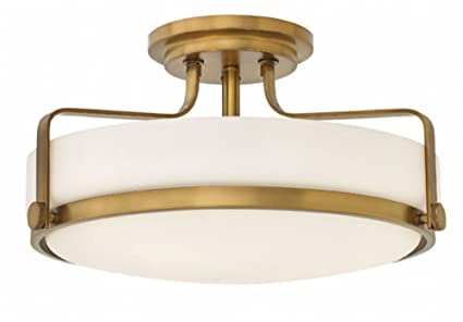 competitive price 0473f d19b1 Hinkley 3643HB Transitional Three Light Semi Flush Mount from Harper  collection in Brassfinish,