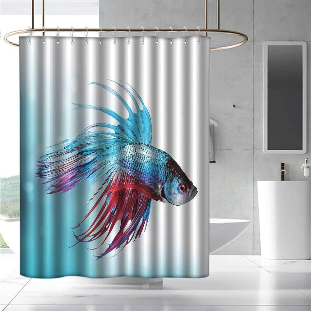 color10 W55\ color10 W55\ EwaskyOnline Fabric Shower Curtain Aquarium Siamese Fighting Betta Fish Swimming in Aquarium Aggressive Sea Animal Fashionable Pattern W55 x L84 Sky bluee Dark Coral